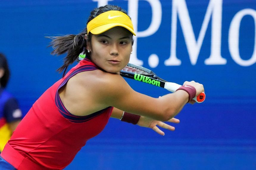 Emma Raducanu in action against Leylah Fernandez of Canada in the US Open final.