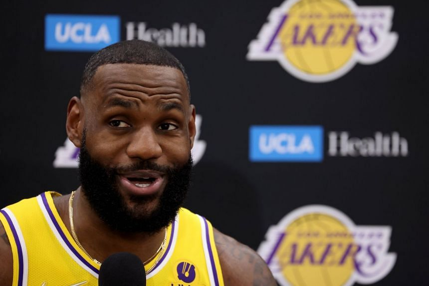 LeBron James answers questions during a Los Angeles Lakers media day in El Segundo, California, on Sept 28, 2021.