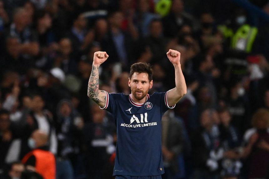 Messi celebrates after scoring PSG's second goal.