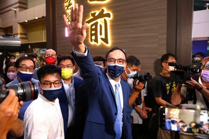 Mr Eric Chu waving to his supporters after winning the chairmanship of Kuomintang Party in Taipei on Sept 25, 2021.