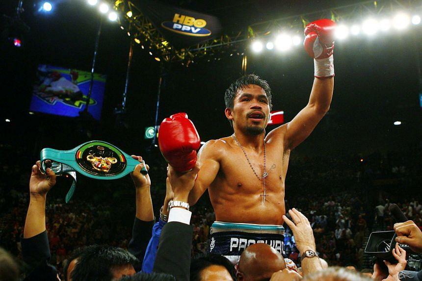 Manny Pacquiao celebrates winning a fight on May 3, 2009.