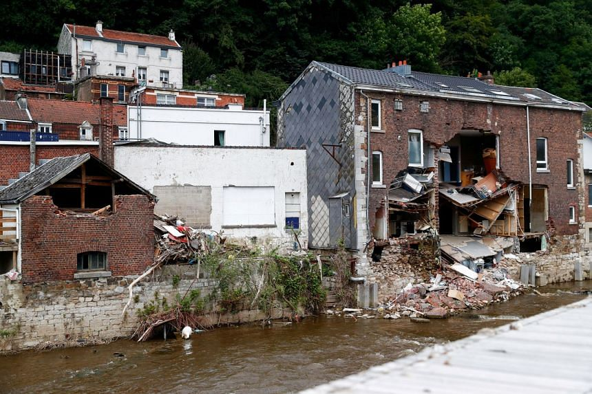An August 2021 photo shows a building destroyed by heavy rainfall in Pepinster, Belgium.
