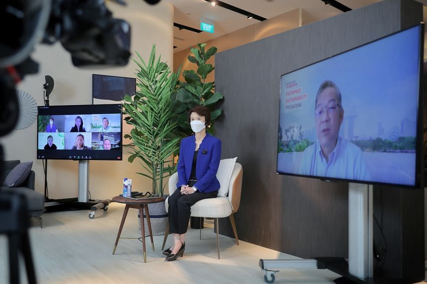 Ms Low Yen Ling and Mr Gan Kim Yong during a virtual media interview at Commune's showroom, which is the retail arm of furniture company Koda, at Millenia Walk, on Oct 1, 2021.