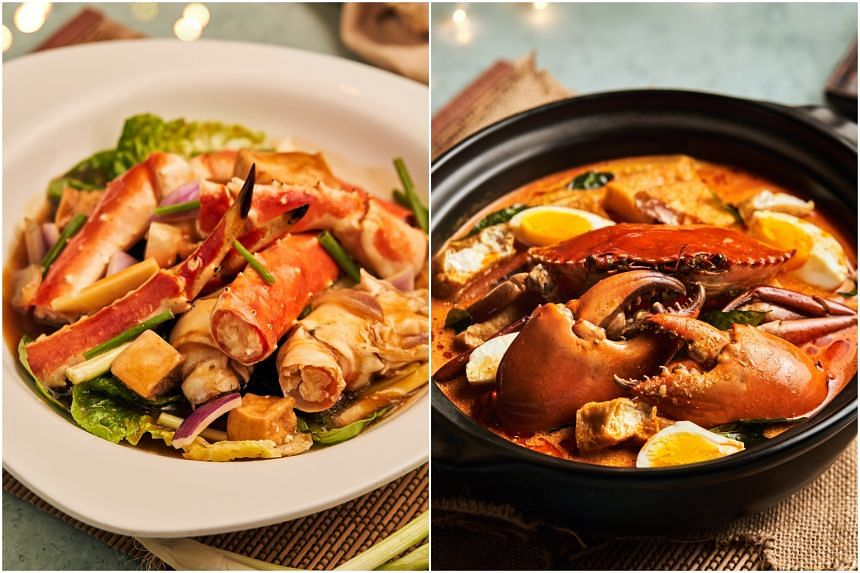 Alaskan Crab, Wok Hei Cantonese Style (left) and Sri Lankan Crab, J65's Curry Laksa from Ah Hoi's Kitchen.