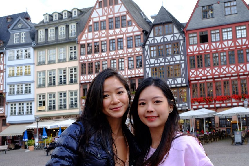 Ms Novita Lam (left), who arrived in Germany over a week ago via the Vaccinated Travel Lane, with her friend in Frankfurt.
