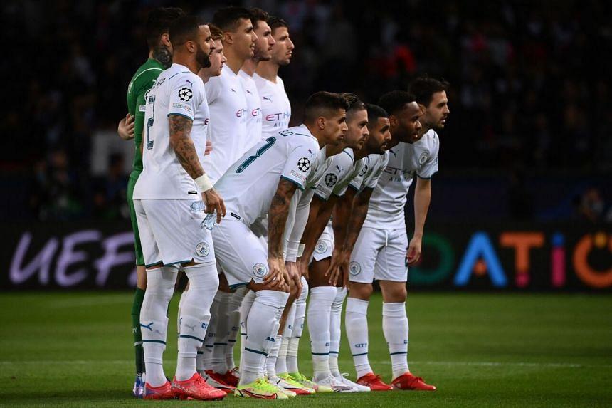Manchester City's players at The Parc des Princes, in Paris, on Sept 28, 2021.