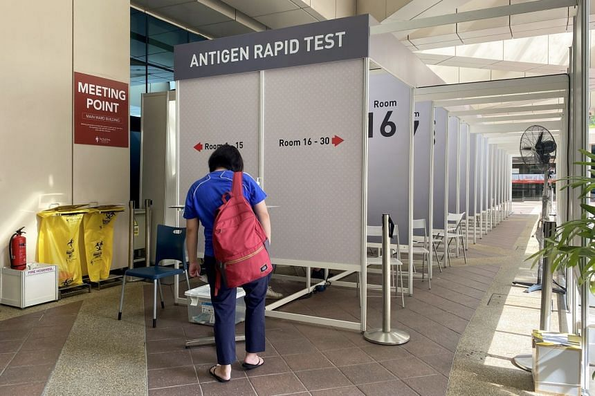 Antigen Rapid Test rooms near the entrance of Tan Tock Seng Hospital are pictured on Sept 24, 2021.
