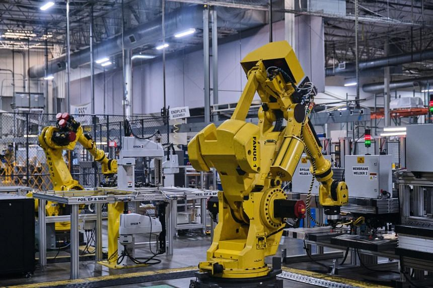 Robotic arms manufacture iron-flow batteries at the Energy Storage Systems Inc. facility in Oregon, US on Sept 28, 2021.