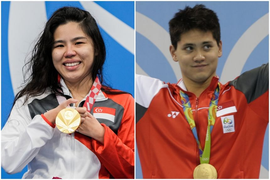 Paralympic swimmer Yip Pin Xiu (left) won two gold medals at the 2020 Tokyo Paralympic Games and national swimmer Joseph Schooling with his gold medal at the 2016 Rio Olympic Games.