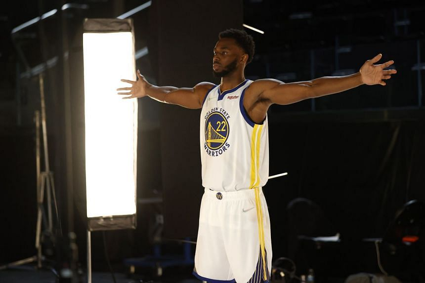 Golden State Warriors' Andrew Wiggins during a Media Day at Chase Center in San Francisco, California.