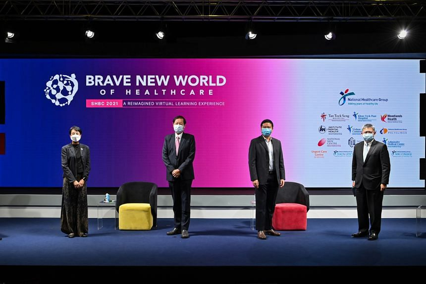 (From left) Ms Salma Khalik, Professor Philip Choo, Associate Professor Jeremy Lim and Associate Professor Kenneth Mak during the 19th Singapore Health and Biomedical Congress 2021 at Singapore Expo on Oct 7, 2021.