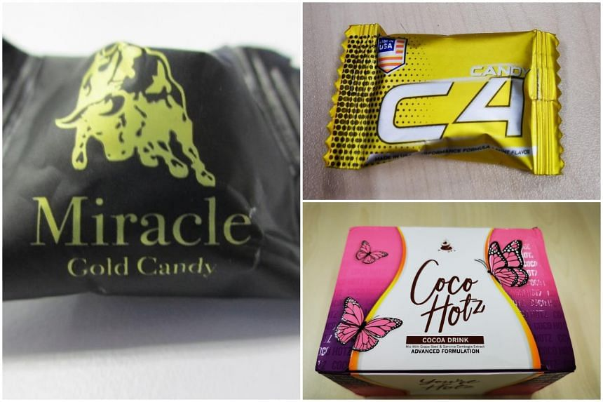 The products are (clockwise from left) Miracle Gold Candy, C4 Candy and Coco Hotz Cocoa Drink.