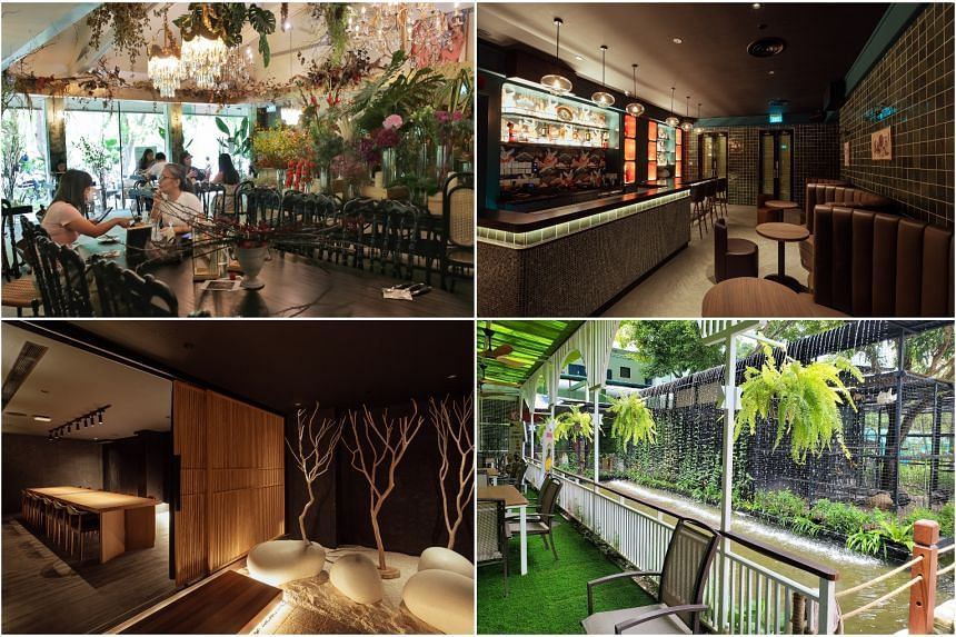 (Clockwise from top left) Le Jardin restaurant at Fort Canning Arts Centre, Here Kitty Kitty Private Bar & Lounge, Lucky Saigon Cafe, and Sushi Ichizuke.