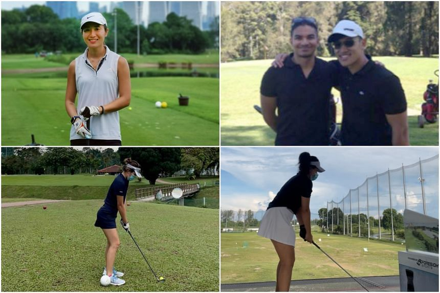 (Clockwise from top) Wan Li Ann, 28, Jeremy Lim (with shades), 31, Charlotte Low, 26, and Zhou Quan, 24, are part of a growing group of young working professionals in Singapore who have recently picked up golf.