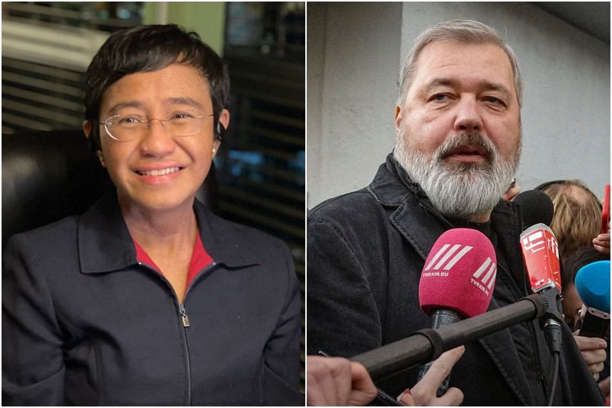 """Ms Maria Ressa (left) and Mr Dmitry Muratov were honoured """"for their efforts to safeguard freedom of expression."""""""