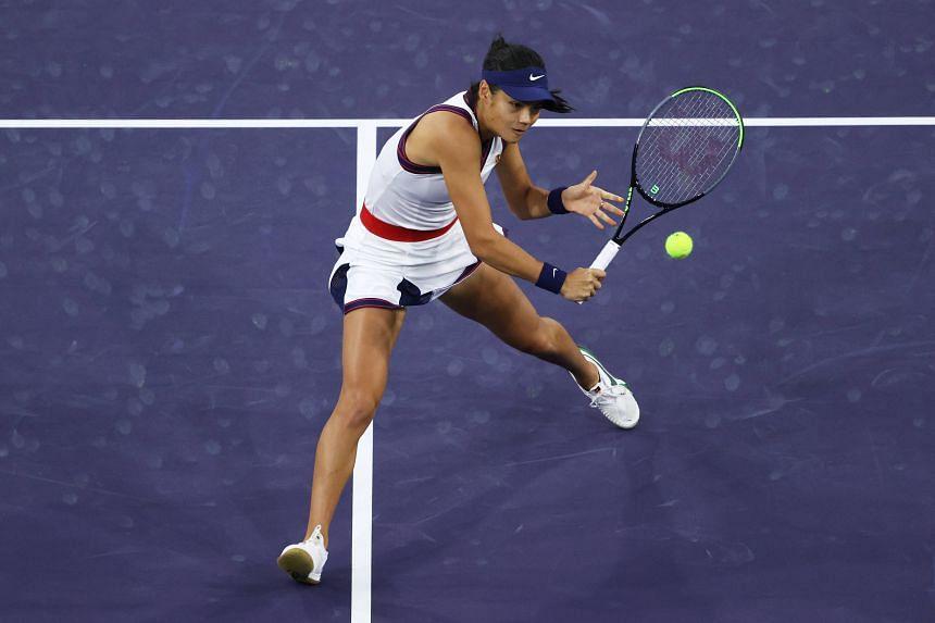Emma Raducanu plays against Aliaksandra Sasnovich at the BNP Paribas Open in Indian Wells, California on Oct 8, 2021.