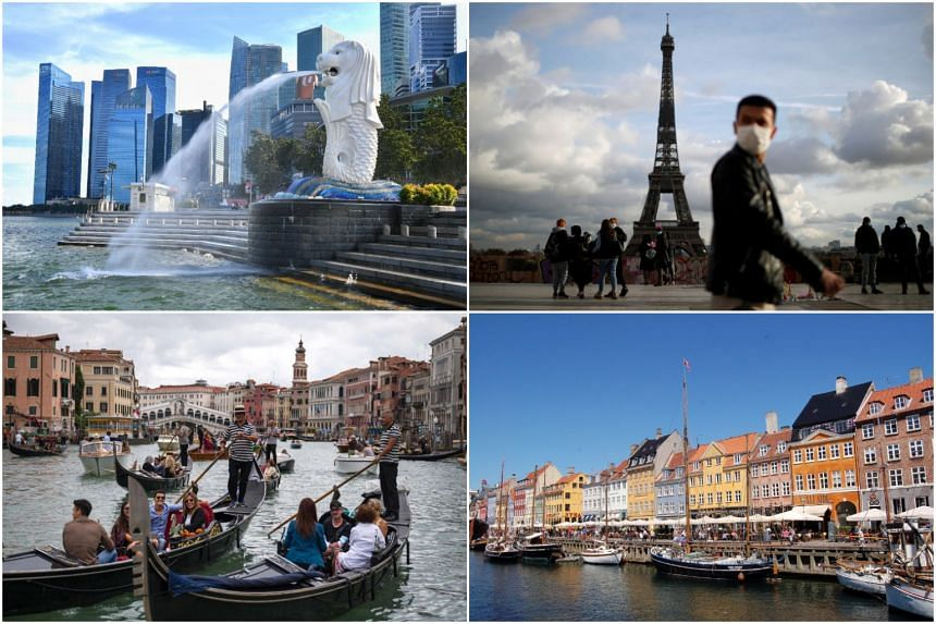 (Clockwise from top right) Among the countries that have established VTLs with Singapore are France, Denmark and Italy.
