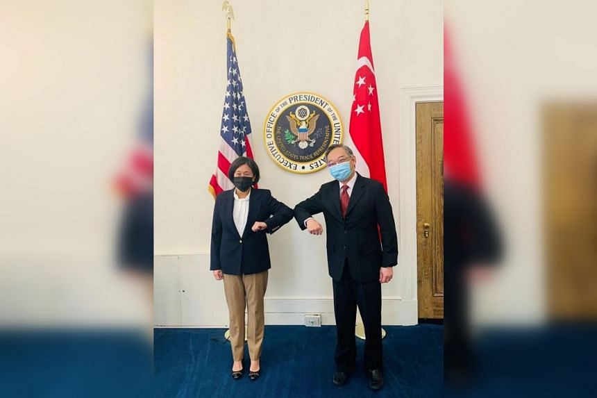 Singapore's Minister for Trade and Industry Gan Kim Yong (right) said he and US Trade Representative Katherine Tai had substantive discussions in Washington.