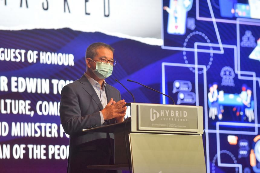 Minister for Culture, Community and Youth Edwin Tong at the inaugural Careers Unmasked Forum on Oct 9, 2021.