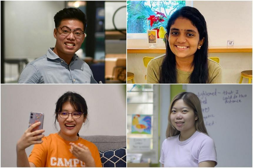 (Clockwise from top left)  Mr Jovan Chong,  Ms P. Keerthana, Ms Claire Djuhadi and Ms Charlene Phua.