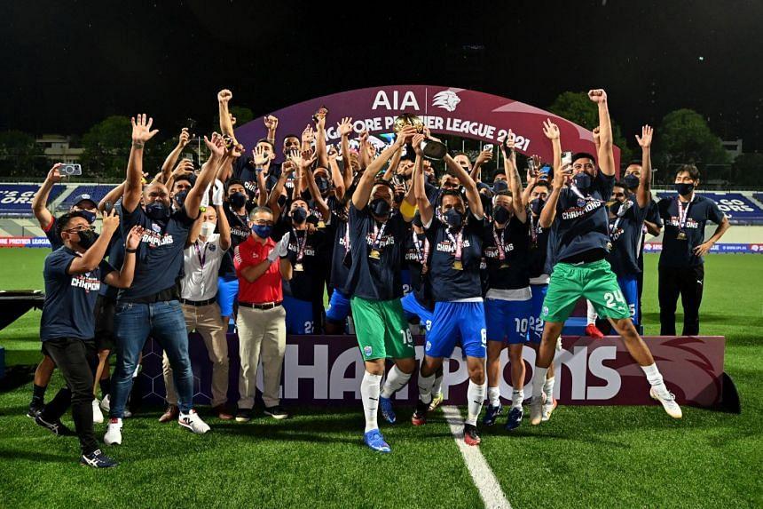 Lion City Sailors celebrating their win against Balestier Khalsa during Singapore Premier League season finale at Jalan Besar Stadium on Oct 10, 2021.
