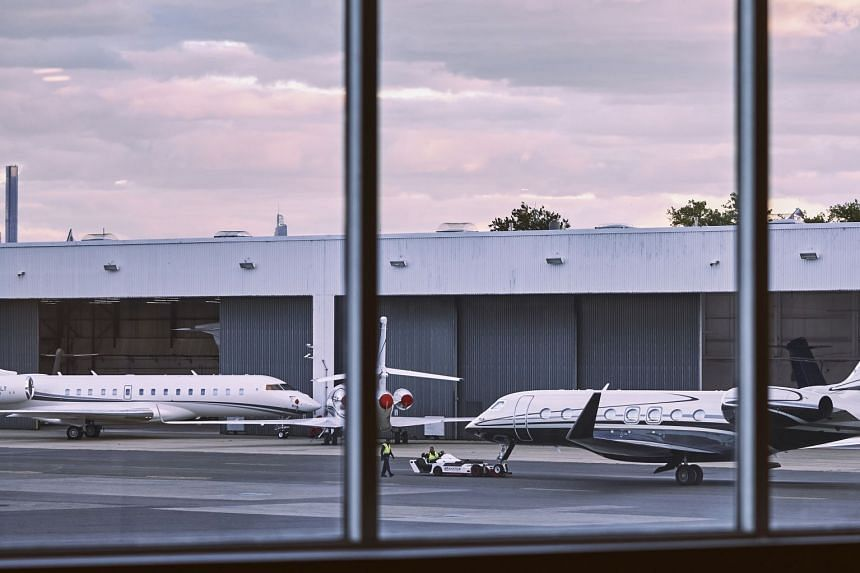 Private jets at Teterbroro Airport in New Jersey on Sept 29, 2021. Waits for charter flights are longer, and costs higher, as many more of the rich seek to avoid crowded planes and airports.