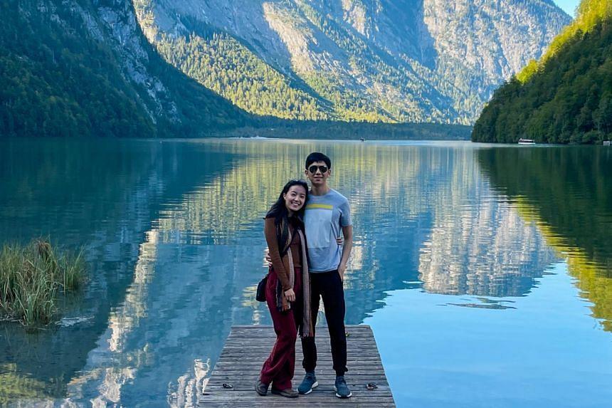 Annette Lee and her husband, Mr Raphael Foo, at Konigssee Lake in Bavaria.
