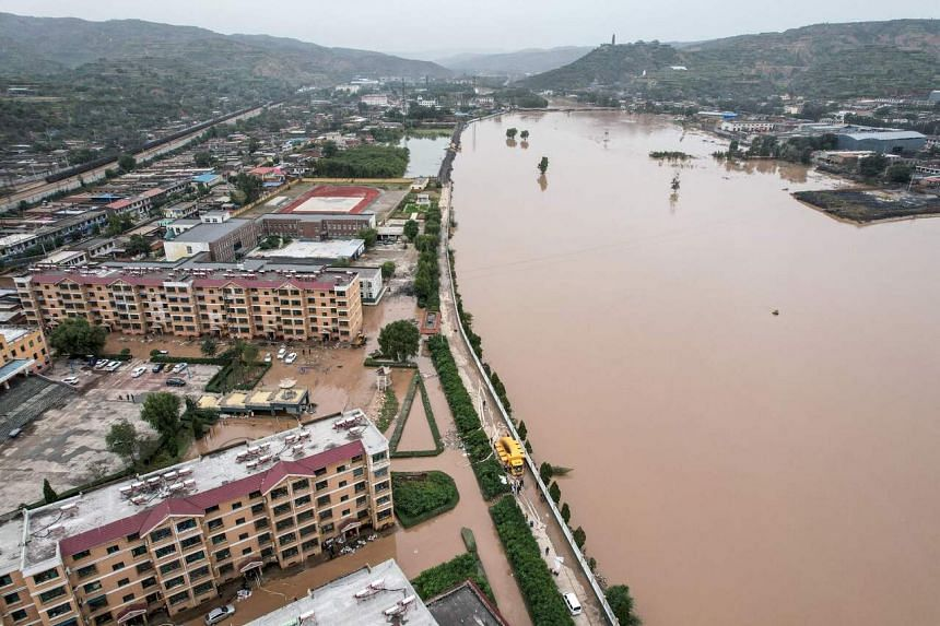 A flooded area after heavy rainfalls in Jiexiu, China's northern Shanxi province, on Oct 10, 2021.