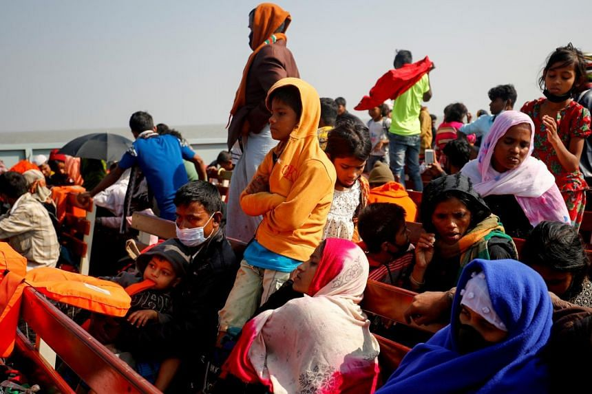 Rohingya refugees on a navy vessel on their way to the Bhasan Char island in Noakhali district, Bangladesh, on Dec 29, 2020.