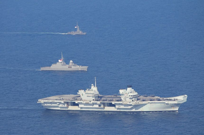 (From top) RSS Vigour and RSS Formidable and the HMS Queen Elizabeth exercise together on Oct 9, 2021.