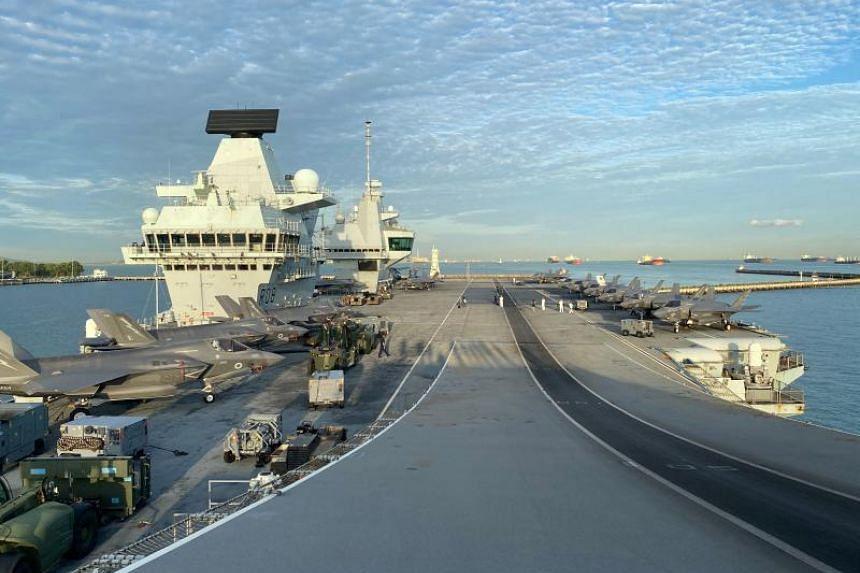 The flight deck onboard UK Carrier Strike Group's HMS Queen Elizabeth docked at Changi Naval Base, on Oct 11, 2021.