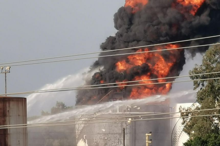 Firefighters were attempting to control the blaze in the Zahrani oil facility in southern Lebanon.