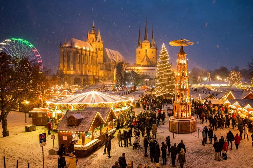 A Christmas market in Erfurt, Germany.