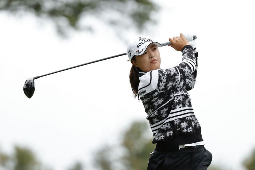 South Korea's Ko Jin-young hits her tee shot on the 2nd hole during the final round of the Cognizant Founders Cup, on Oct 10, 2021.
