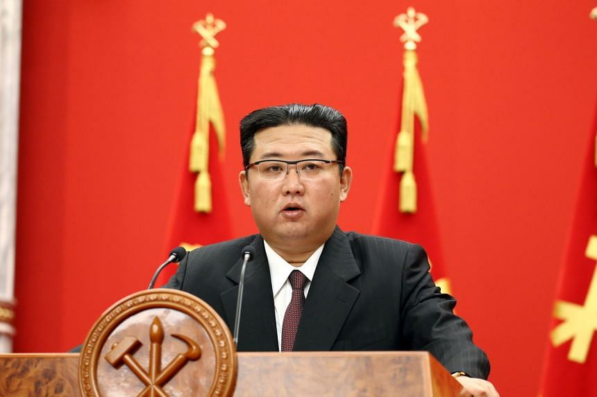North Korean leader Kim Jong Un speaks during an event marking the anniversary of the founding of the ruling Workers' Party of Korea in Pyongyang on Oct 10, 2021.