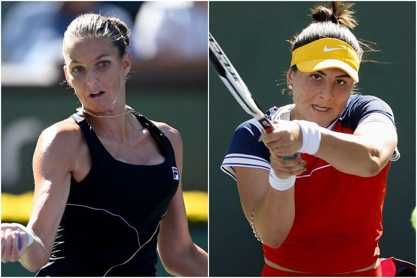 Karolina Pliskova (left) and Bianca Andreescu at the Indian Wells Tennis Garden in California on Oct 11, 2021.