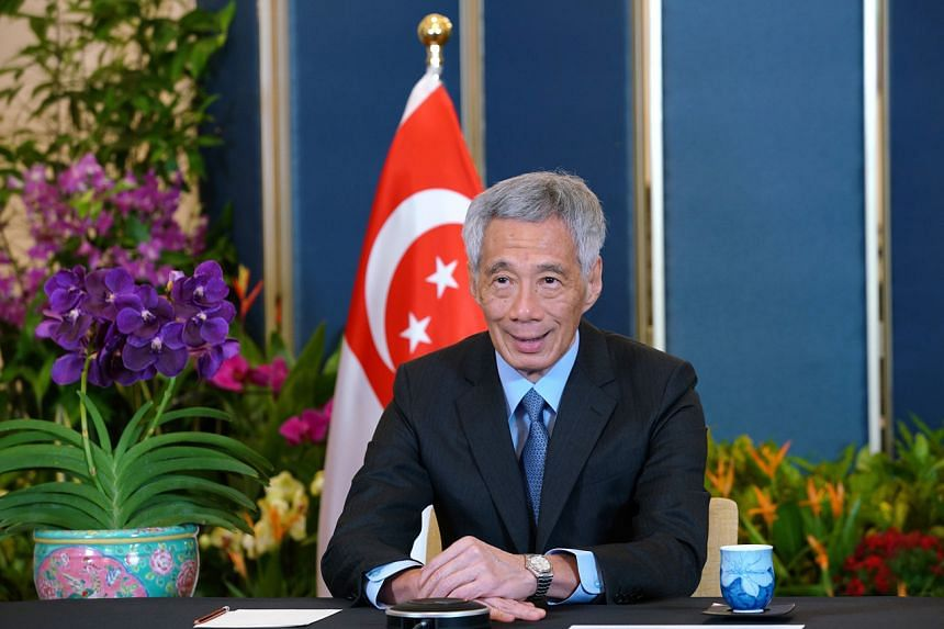 Prime Minister Lee Hsien Loong speaking at the Group of 20 Extraordinary Leaders' Meeting on Afghanistan on Oct 12, 2021.