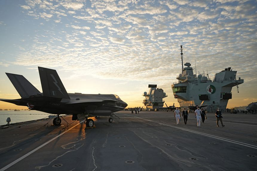 F-35B jets on board the British Royal Navy's HMS Queen Elizabeth carrier, which docked in Changi on Oct 11 as part of its maiden deployment.