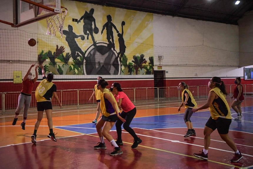 Fulaninhas amateur basketball team players during a training session in Sao Paulo, Brazil on Oct 6, 2021.