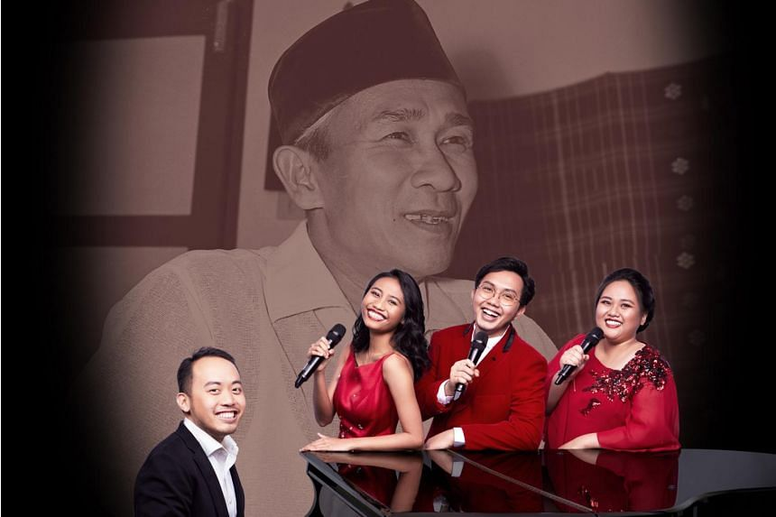 Music director and composer Julian Wong (at piano) and his singers. He conceived a musical tribute to the late Zubir Said titled Don't Call Him Mr Mari Kita.