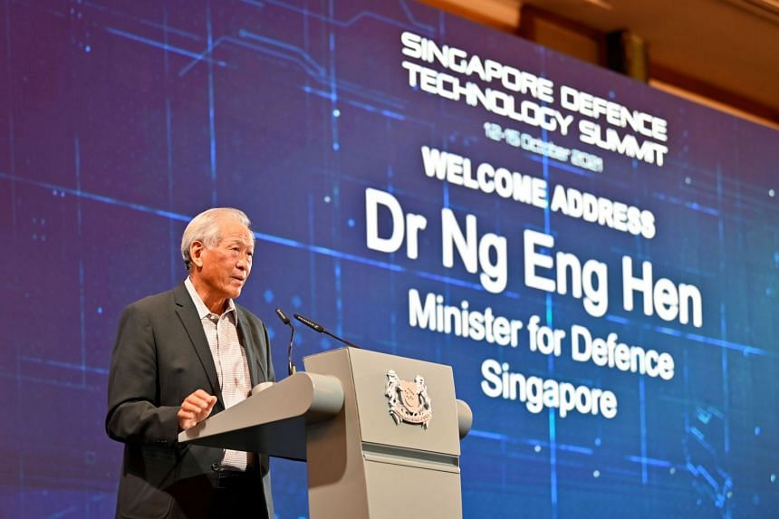 Defence Minister Ng Eng Hen at the third Singapore Defence Technology Summit on Oct 12, 2021.
