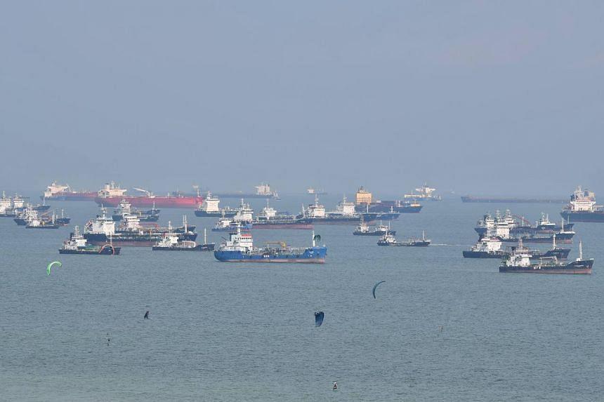 Ships seen anchored off East Coast beach on Oct 13, 2021.