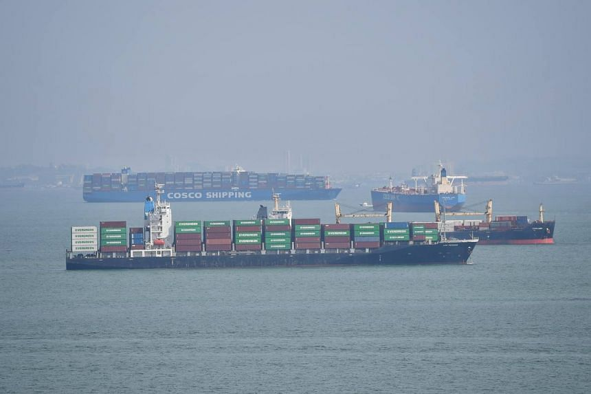 Container ships anchored off East Coast Beach on Oct 13, 2021.