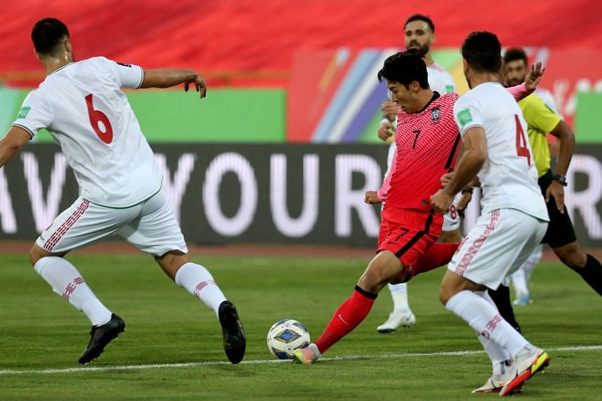 South Korea forward Son Heung-min attempting a shot in the World Cup qualifier against Iran in Teheran, on Oct 12, 2021.