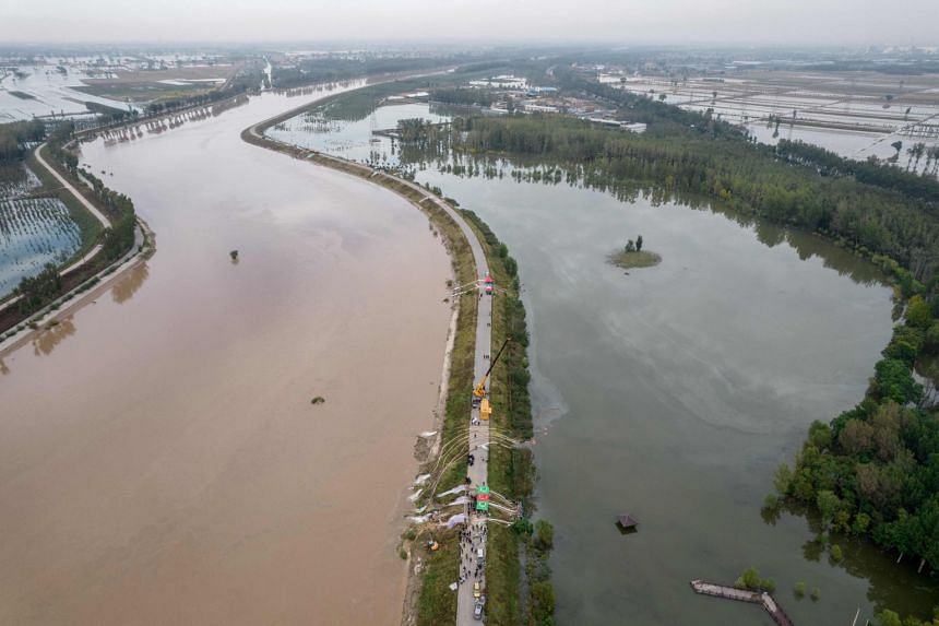 A flooded area after heavy rainfall in Jiexiu, Shanxi, on Oct 10, 2021.