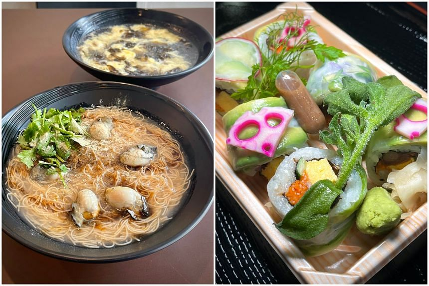 Vermicelli With Oyster and Egg Seaweed Soup at Nan Tai Eating House (left) and Vegetable Roll from En Brace.