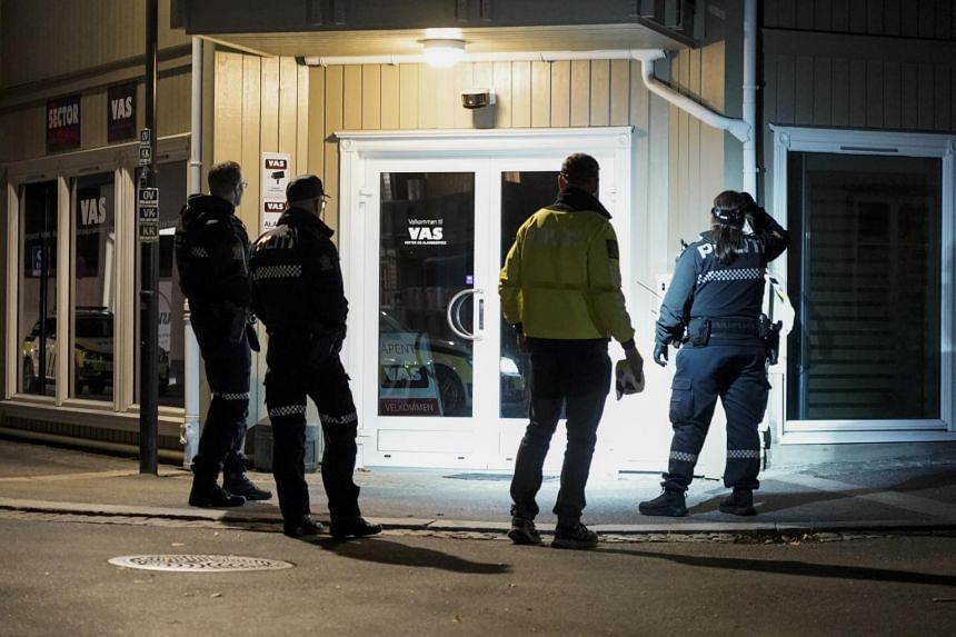 Police are seen investigating the site of an attack in Kongsberg, Norway, on Oct 13, 2021.