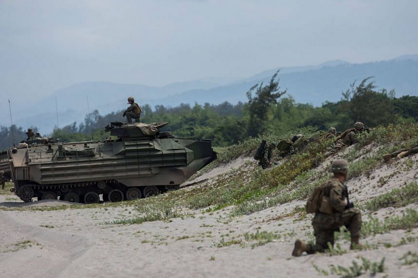 US and Philippine marines providing security during an amphibious exercise as part of Exercise Balikatan on May 9, 2018.