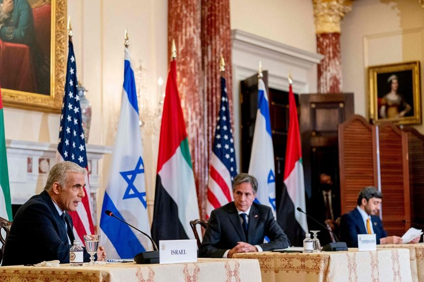 US Secretary of State Antony Blinken (centre) at a joint news conference with Israeli Foreign Minister Yair Lapid and Emirati Foreign Minister Sheikh Abdullah Bin Zayed in Washington on Oct 13, 2021.