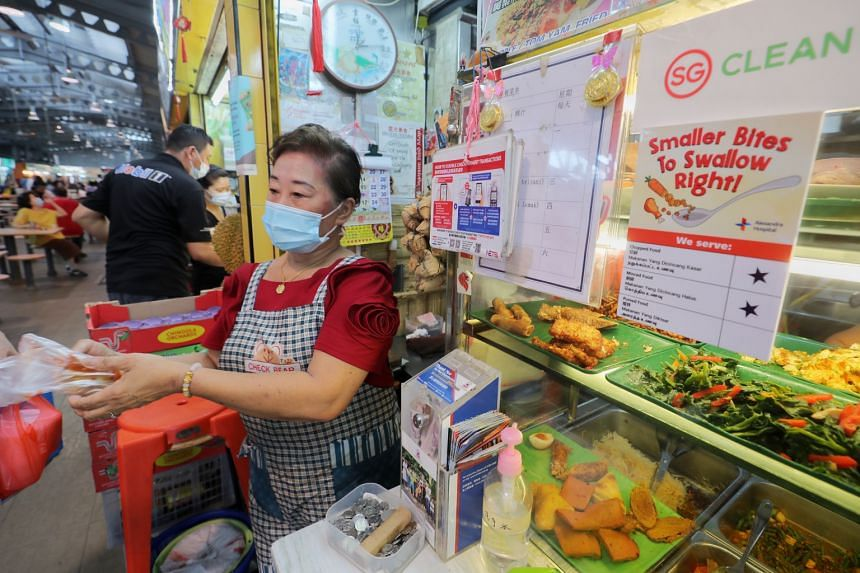 Hawker Lina Ang was trained to prepare food for those with dysphagia under a campaign called Smaller Bites to Swallow Right.
